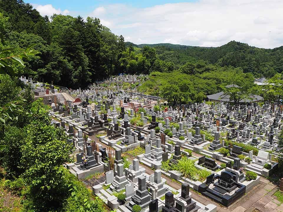 多摩聖地霊園 永代供養付自然葬「桜寿」(左)と樹林墓「天寿」(右)