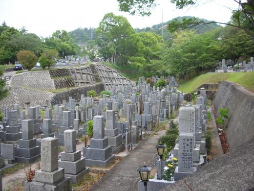 この写真からも谷沿いに墓苑が造られたのが良くわかる