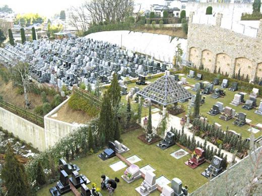 広くゆったりした芝生墓地と早い建墓でほぼ埋まった一般墓所(後方)
