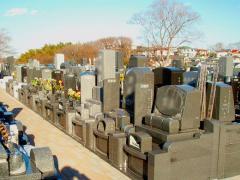 墓苑内の風景。さまざまなタイプの墓石が混在している。