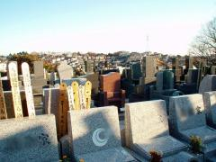 立ち並ぶ墓石の向こうには鶴見の街並みが見える。