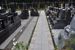 通路の左は1.3㎡の「普通墓地」の区画。奥のフェンスは飛行場のもの。