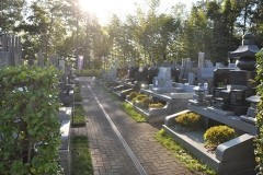 こちらはとてもゆったりとしたサイズの墓所。各墓所の前面にも植栽スペースが設けられています。通路中央の排水溝にも注意。水はけ対策も万全です。