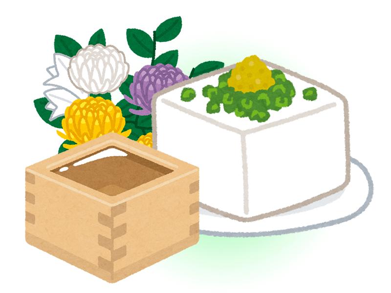 豆腐や納豆を備える神奈川県のお墓のイメージ