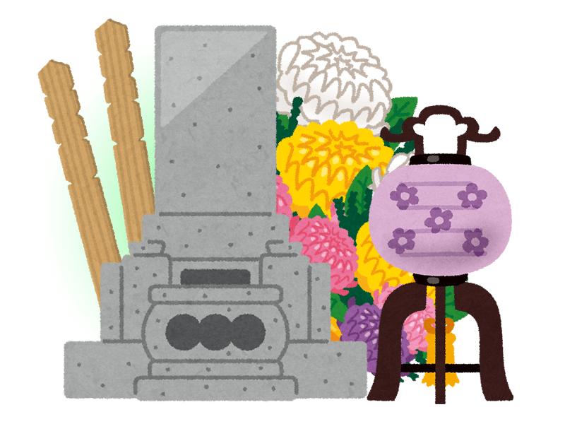 ぼんぼりが特徴的な新潟県のお墓のイメージ