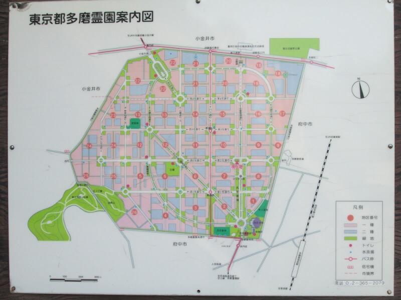 都立多磨霊園の園内マップ