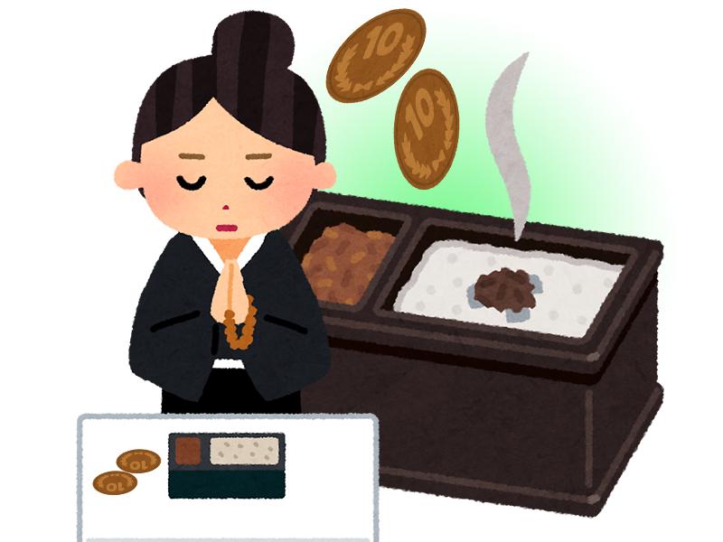 焼香のときに小銭を置く秋田県の葬儀の特徴のイメージ