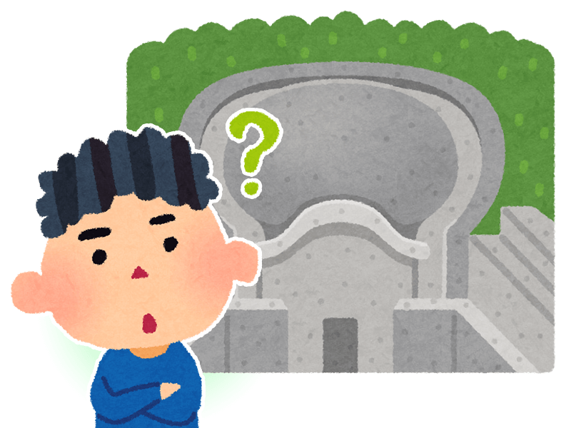 函館市のお墓が大きい理由を解説するイラスト
