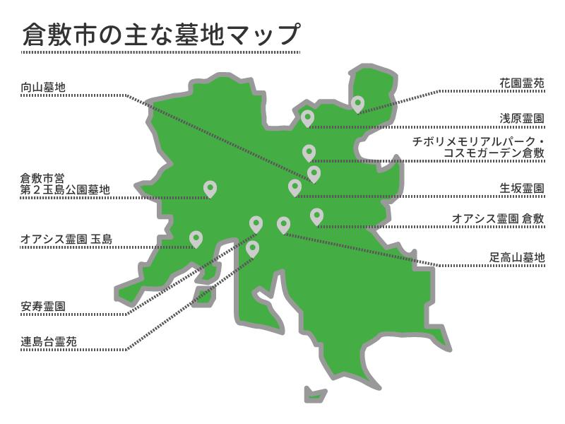 倉敷市の主な墓地マップ