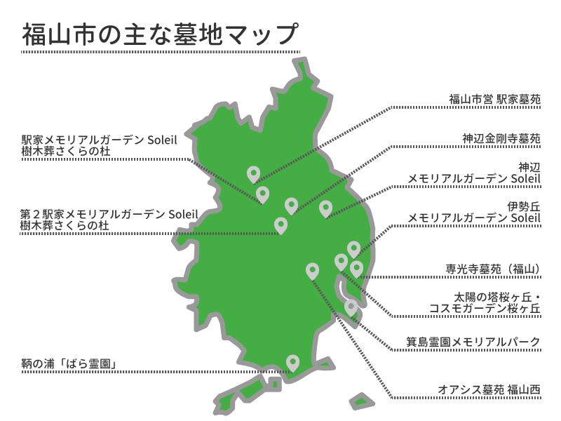 福山市の主な墓地マップ