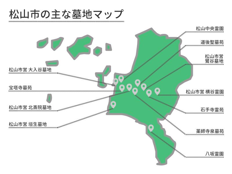 松山市の主な墓地マップ