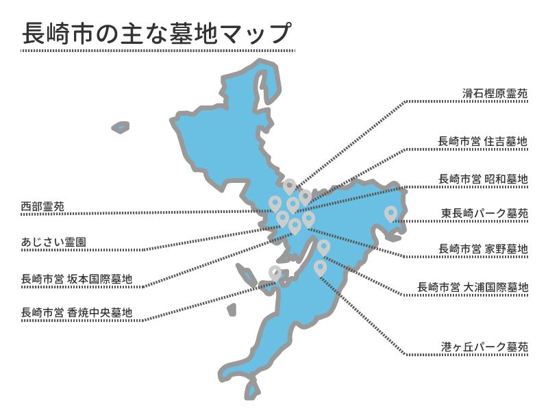 長崎市の主な墓地マップ
