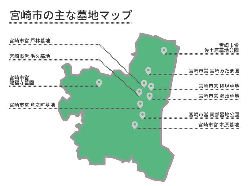 宮崎市の主な墓地マップ