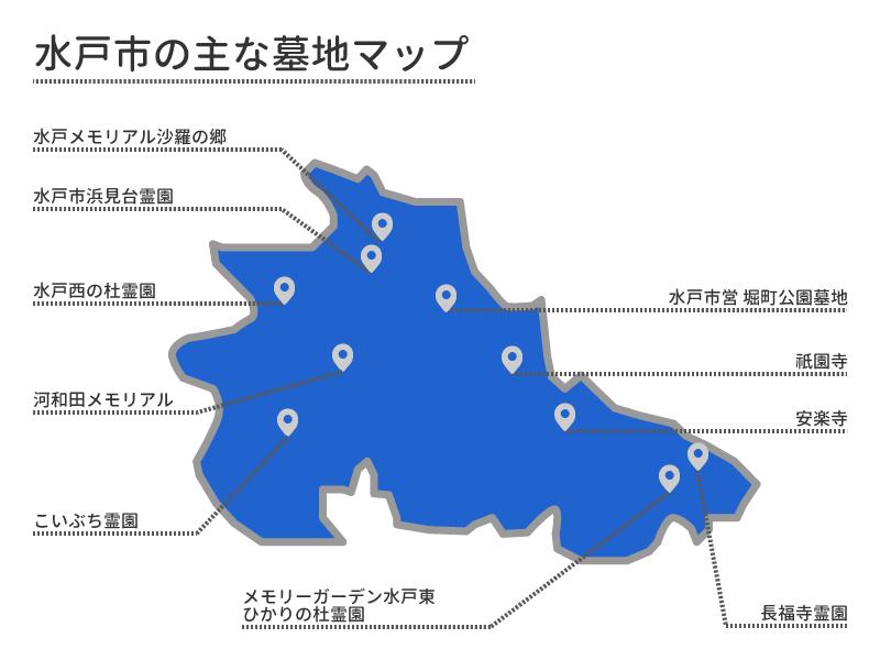 水戸市の主な墓地マップ
