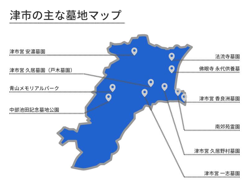 津市の主な墓地マップ