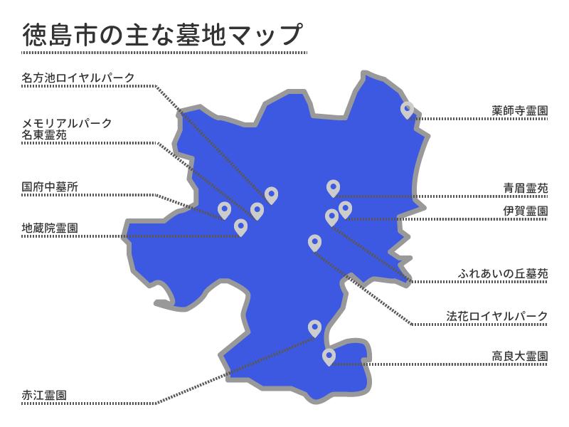 徳島市の主な墓地マップ