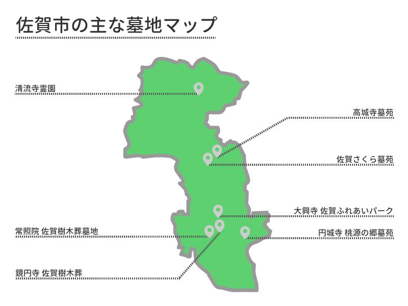 佐賀市の主な墓地マップ