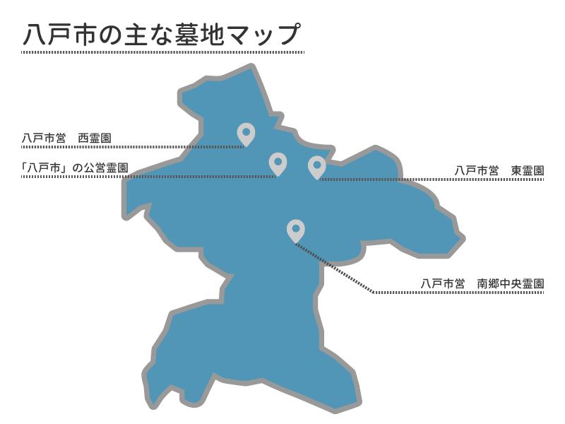 八戸市の主な墓地マップ