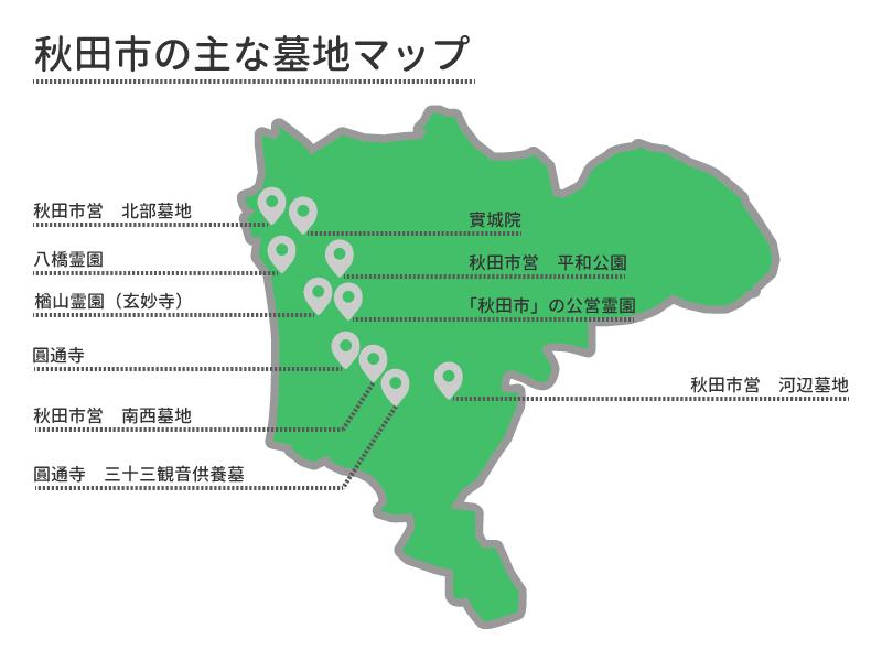 秋田市の主な墓地マップ