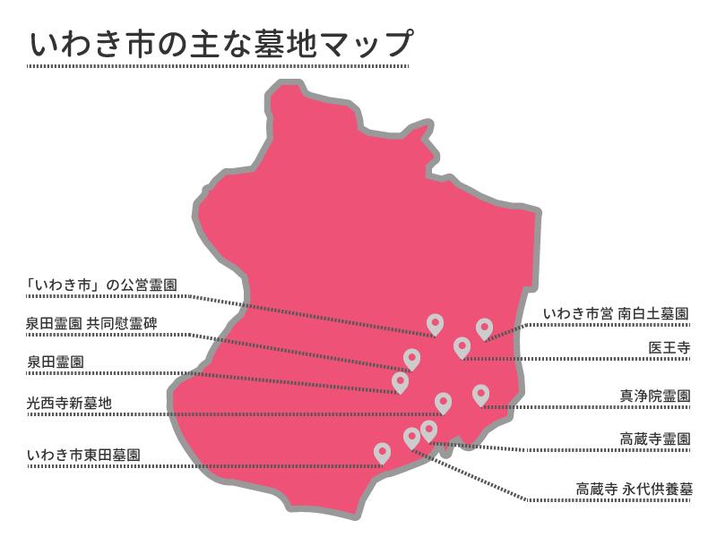 いわき市の主な墓地マップ