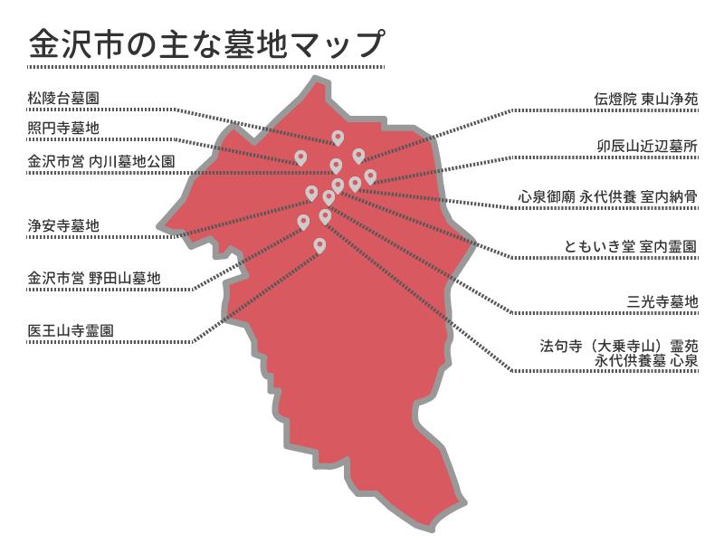 金沢市の主な墓地マップ