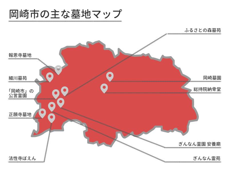 岡崎市の主な墓地マップ