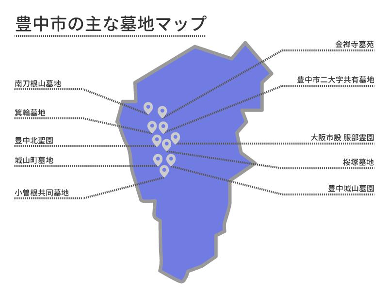 豊中市の主な墓地マップ