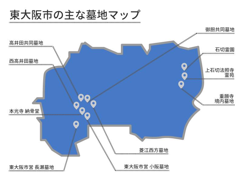 東大阪市の主な墓地マップ