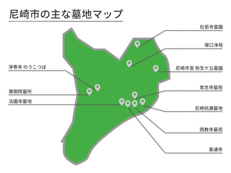 尼崎市の主な墓地マップ