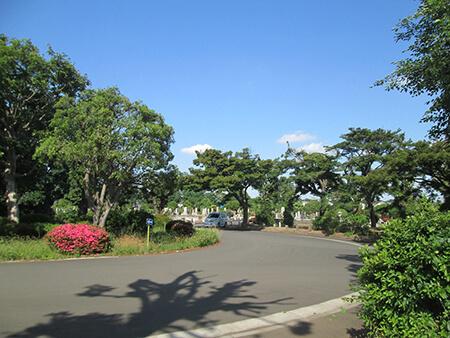 三島由紀夫が眠る多磨霊園の全景の写真